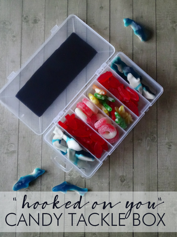"DIY ""Hooked on You"" Candy Tackle Box Valentine's Day gift"