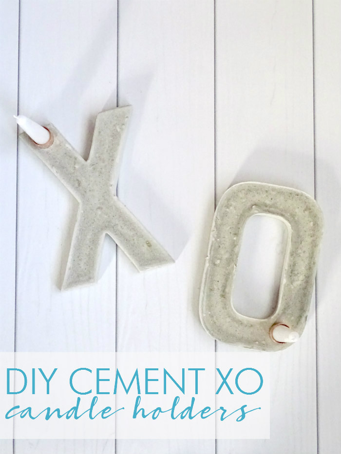DIY Cement XO Candle Holders