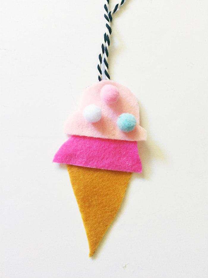 DIY Felt Car Air Fresheners - Ice Cream Cone