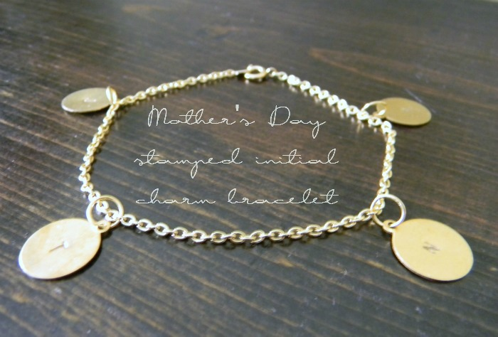 DIY Mother's Day Stamped Initial Charm Bracelet