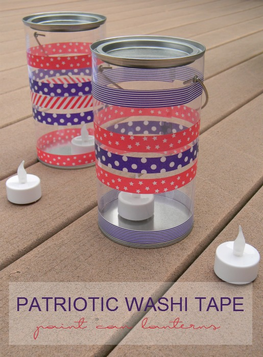 Patriotic Washi Tape Paint Can Lanterns
