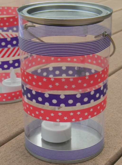 Patriotic Washi Tape Paint Can Lantern