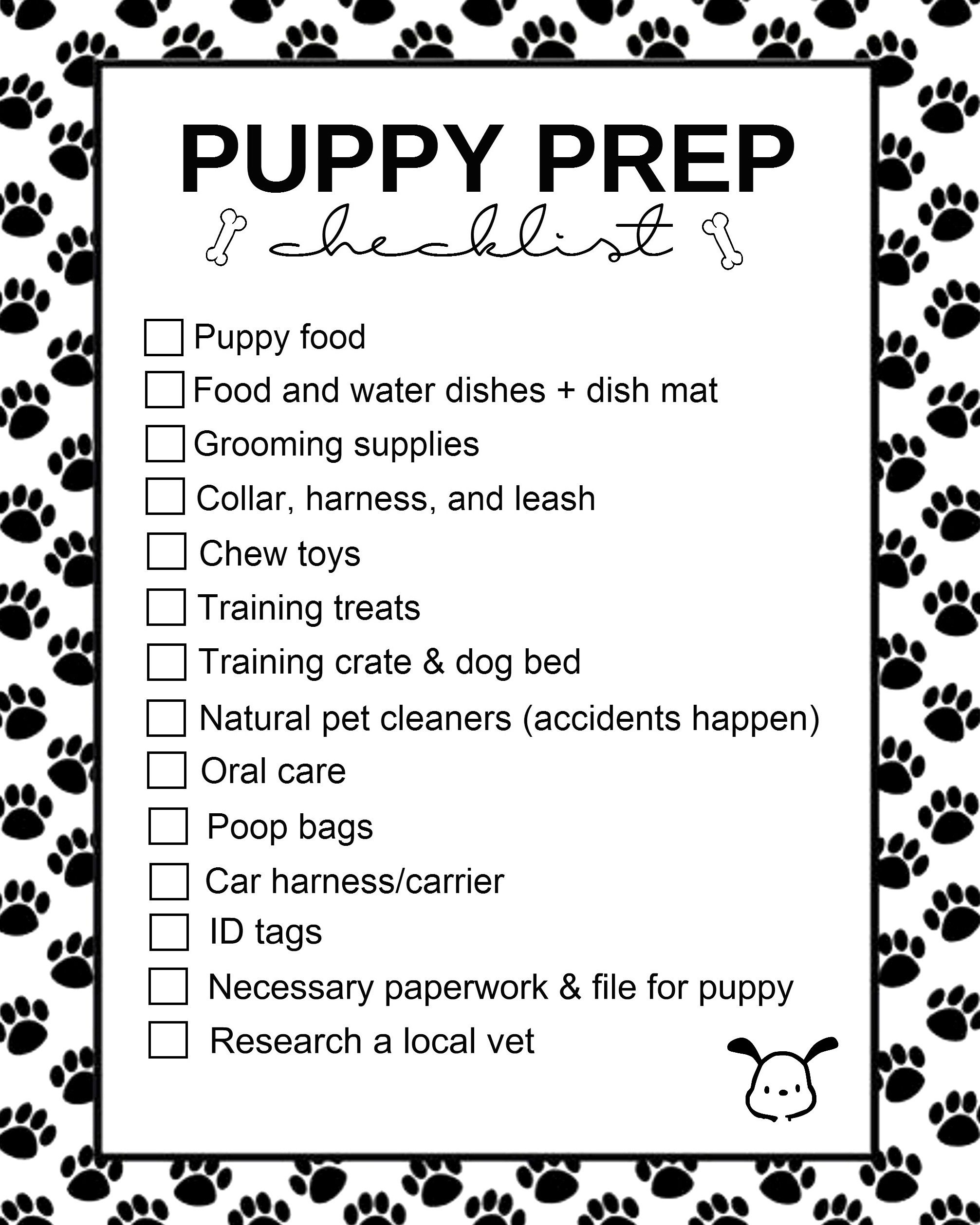 Puppy Prep Checklist Printable