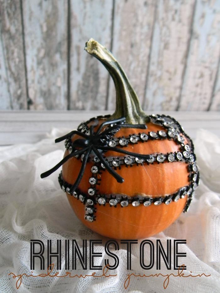 Rhinestone Spiderweb Pumpkin