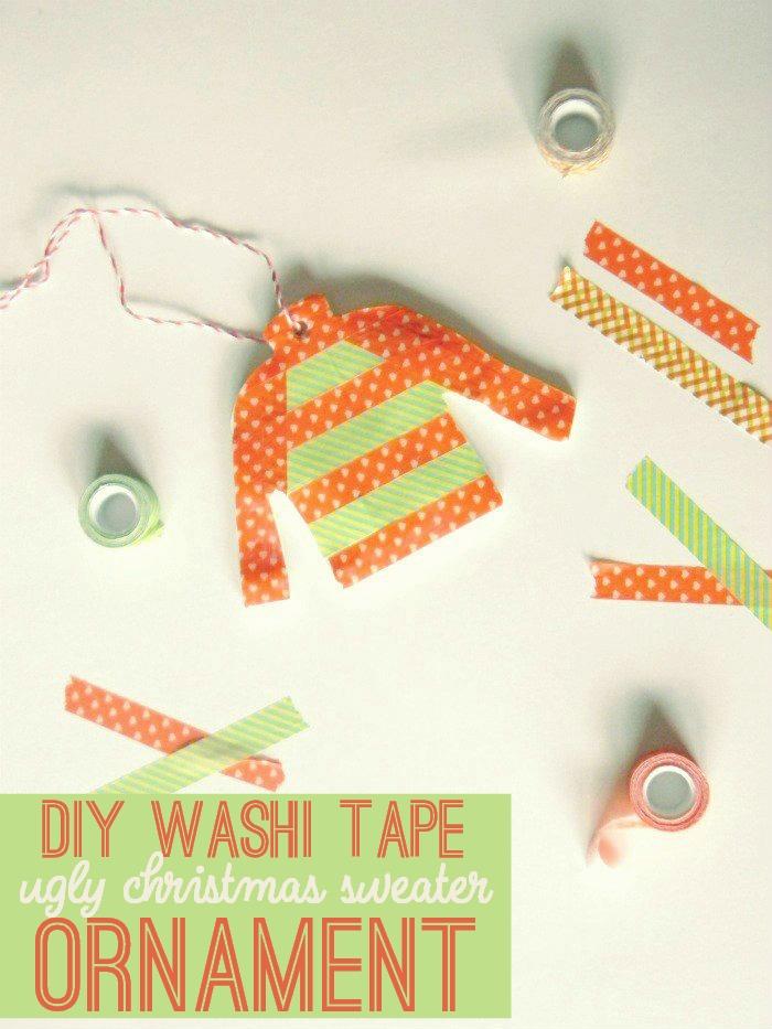 DIY Washi Tape Ugly Christmas Sweater Ornament