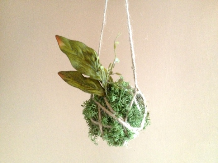 DIY Faux Kokedama Moss Ball