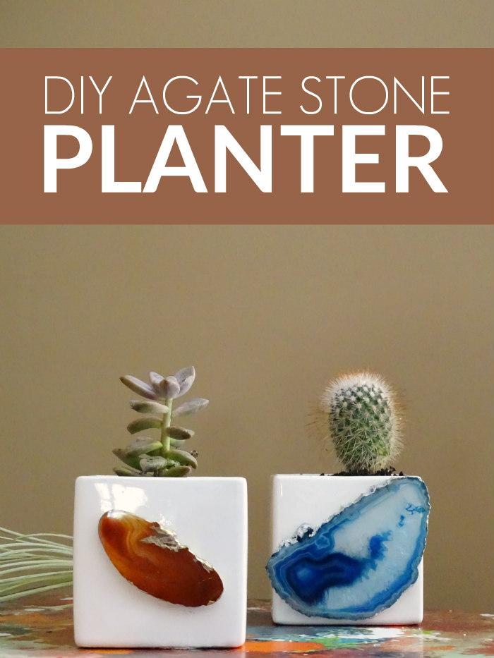 DIY Agate Stone Planter