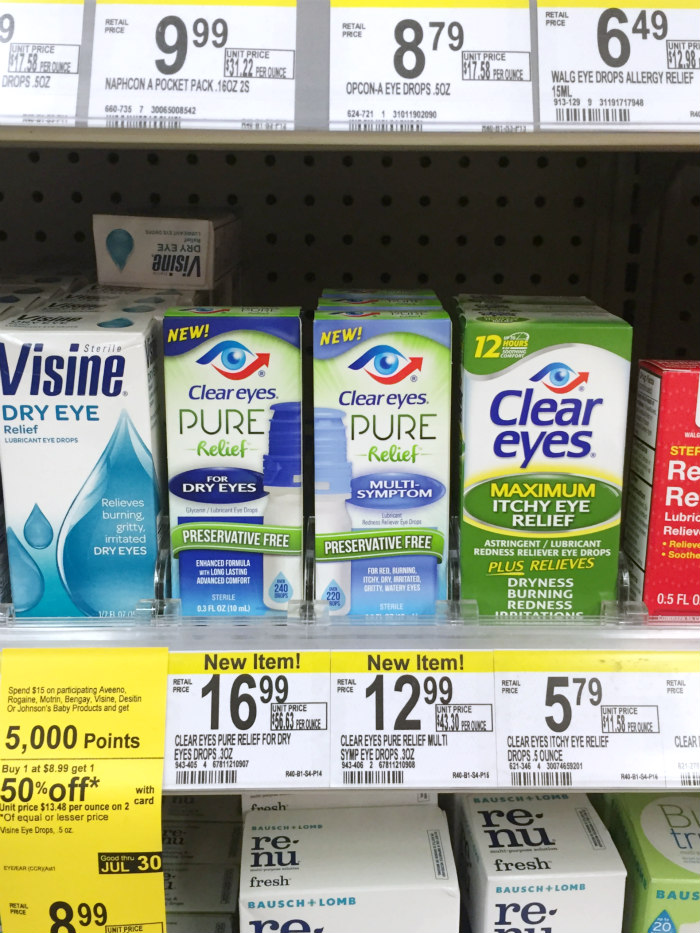 Clear Eyes Pure Relief Eye Drops - In-Store Photo