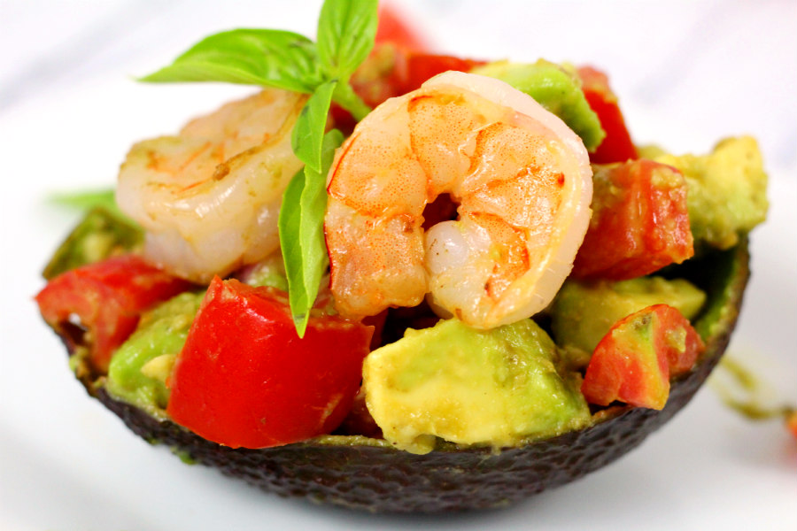 Pesto Shrimp and Tomato Stuffed Avocado