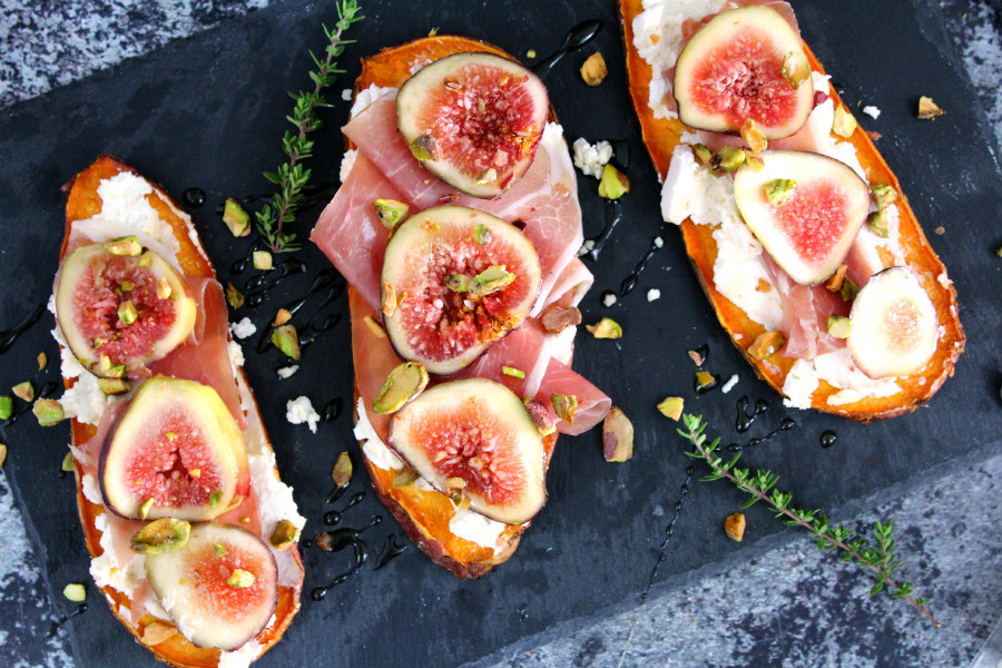 Goat Cheese, Fig, and Prosciutto Sweet Potato Toast