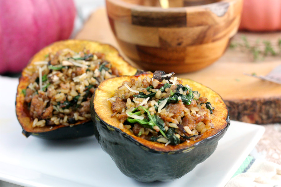 Sausage, Wild Rice, and Mushroom Stuffed Acorn Squash