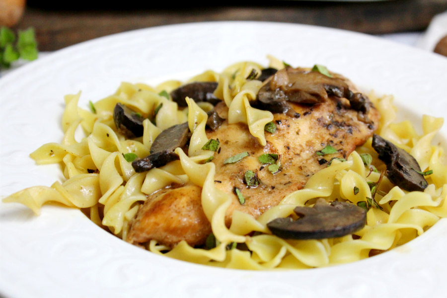 Lighter Slow Cooker Chicken Marsala Casserole