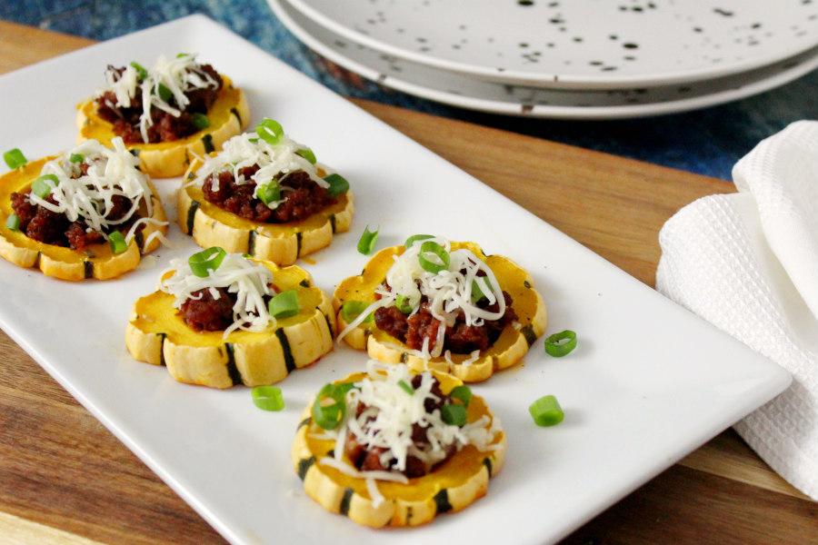 Chorizo Stuffed Delicata Squash Rings