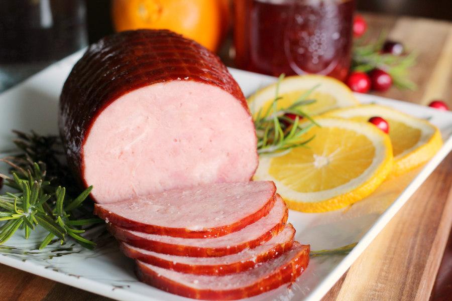 Cranberry Orange Bourbon Glazed Holiday Hatfield Ham