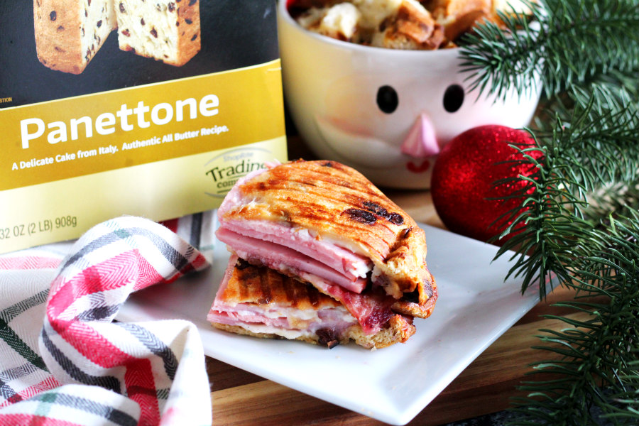 Ham, Cranberry, and Brie Panettone Panini