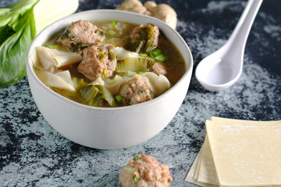 Wonton Noodle Soup with Pork Meatballs