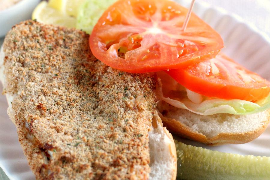 Air Fryer Fried Flounder Sandwich