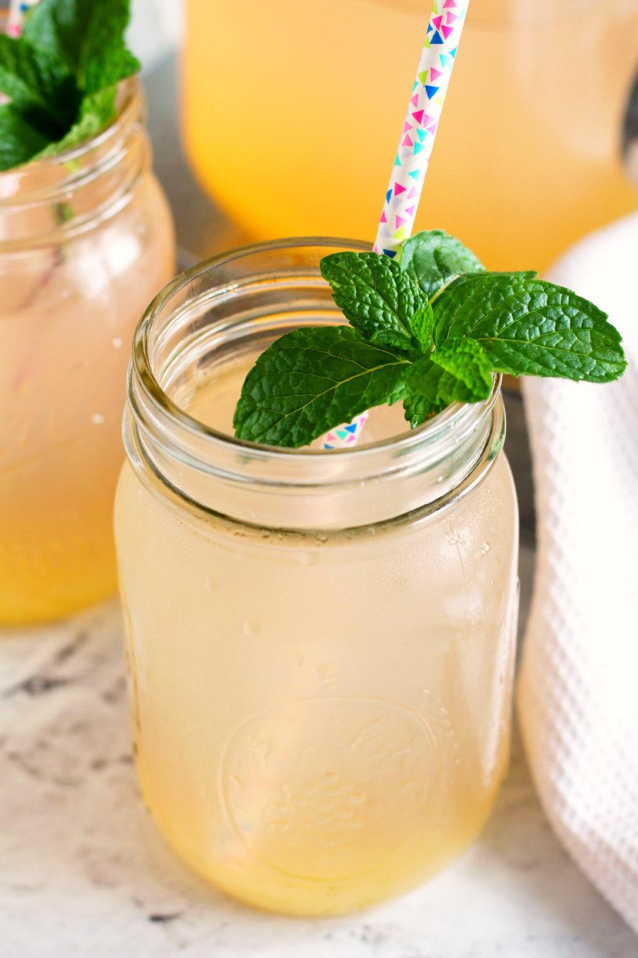 Peach Lemonade with Fresh Mint - Living