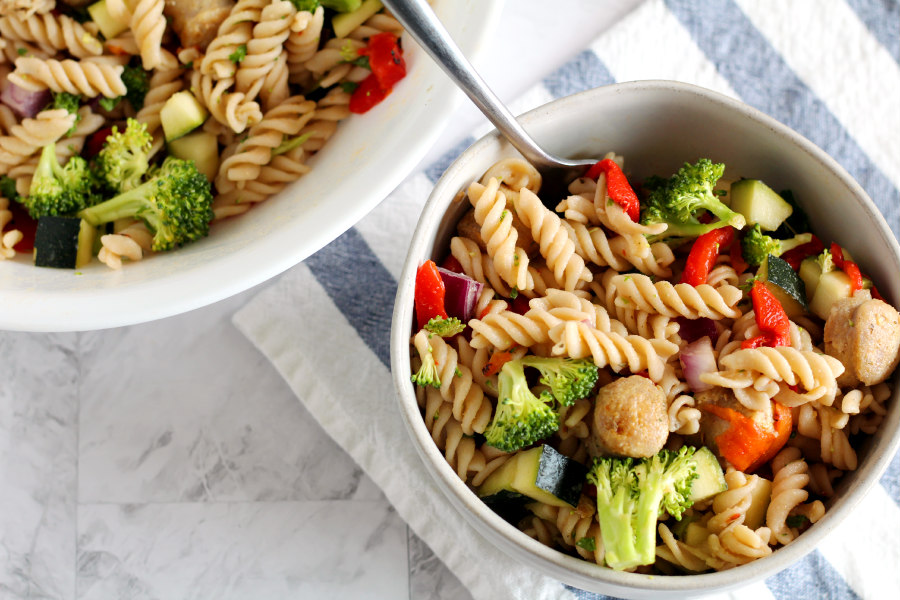 Chicken Sausage Brown Rice Pasta Salad