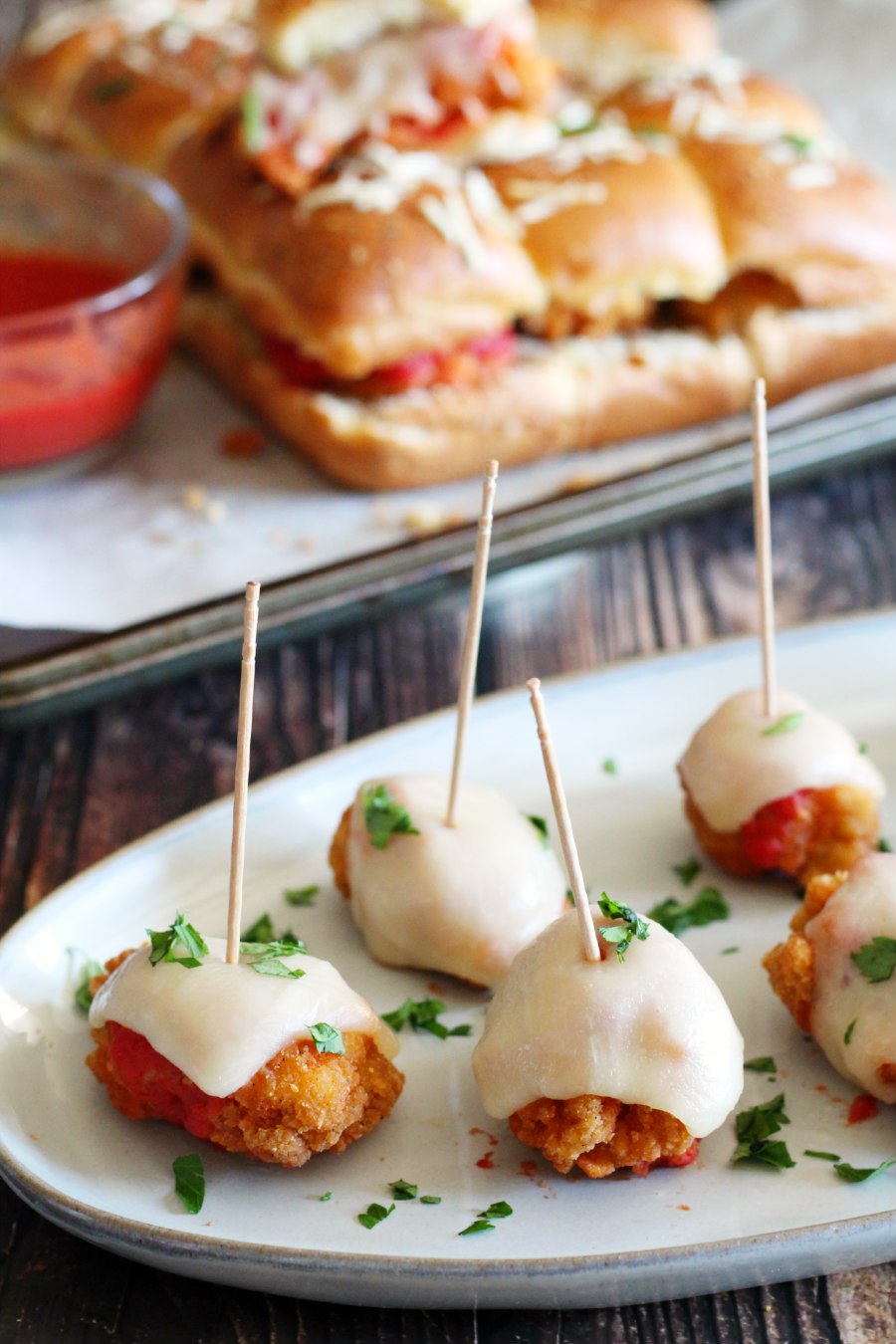 chicken parmesan poppers and sliders appetizers