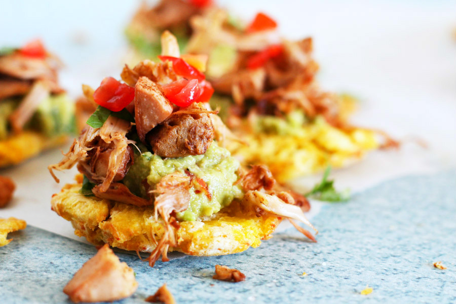 Air Fryer Tostones with Jackfruit and Guacamole