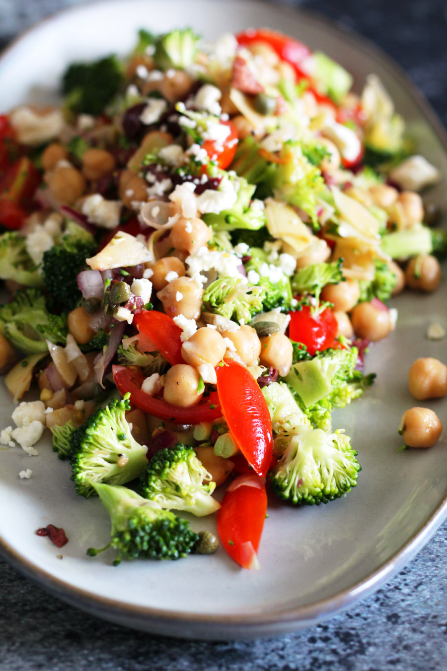 mediterranean, broccoli, tomato, and chickpea salad
