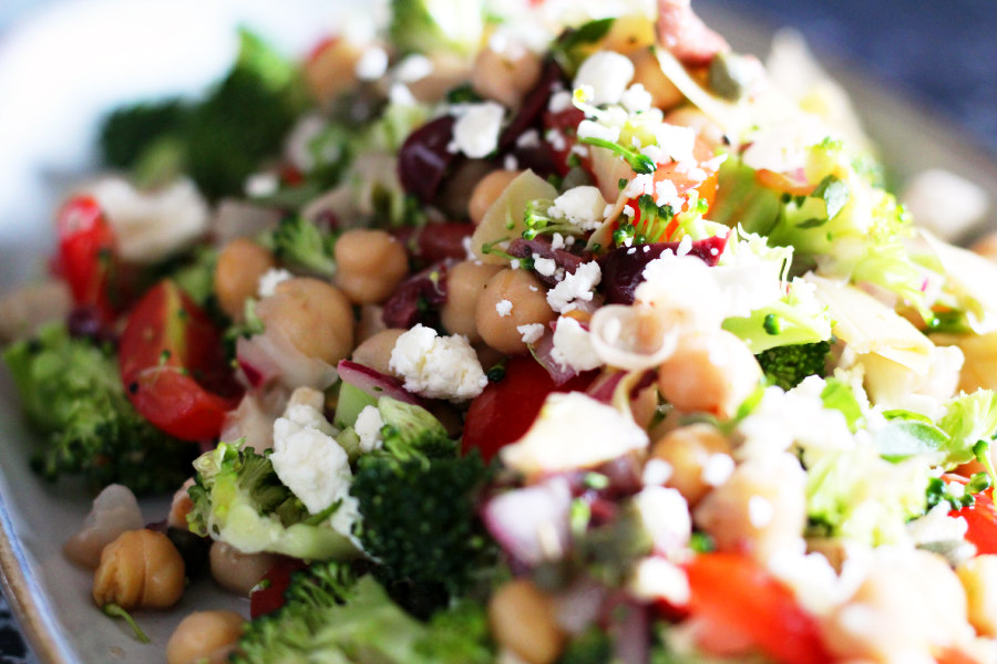 Mediterranean Broccoli, Tomato, and Chickpea Salad