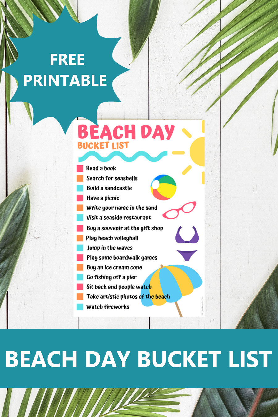 beach day bucklet list printable