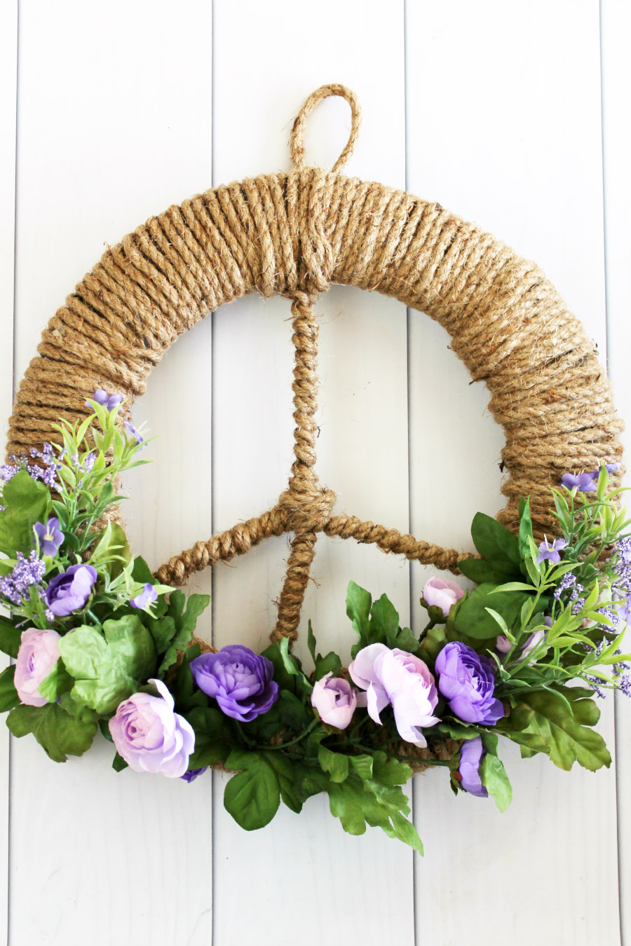 floral peace sign wreath