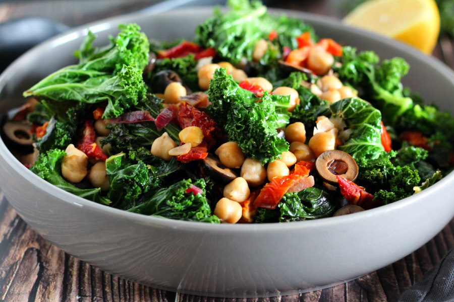 Warm Kale and Chickpea Salad