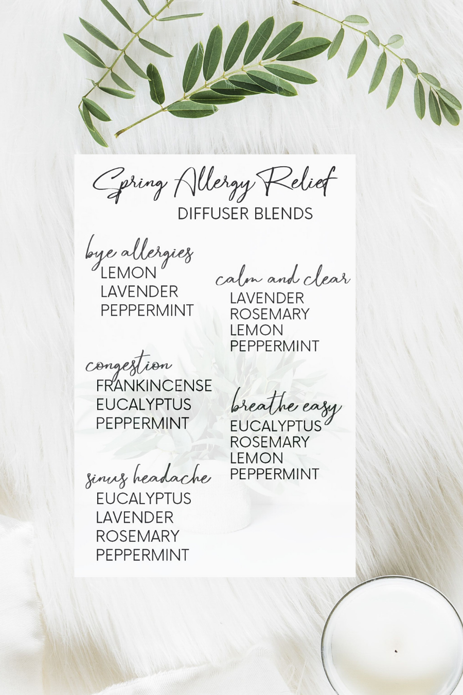 spring allergy relief diffuser blends