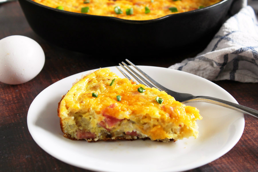 Ham and Cheese Hash Brown Frittata