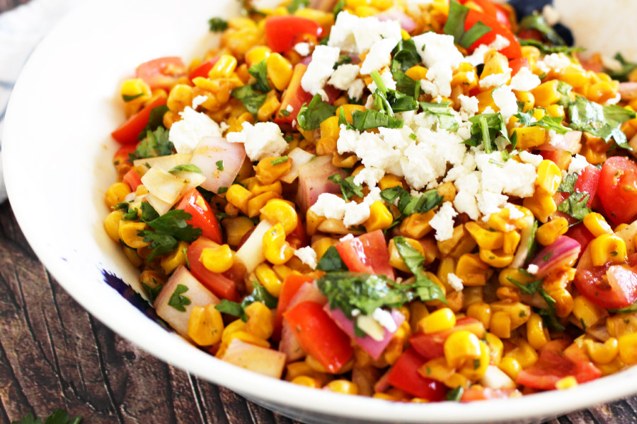 Corn Salad with Tomato, Feta, and Cilantro