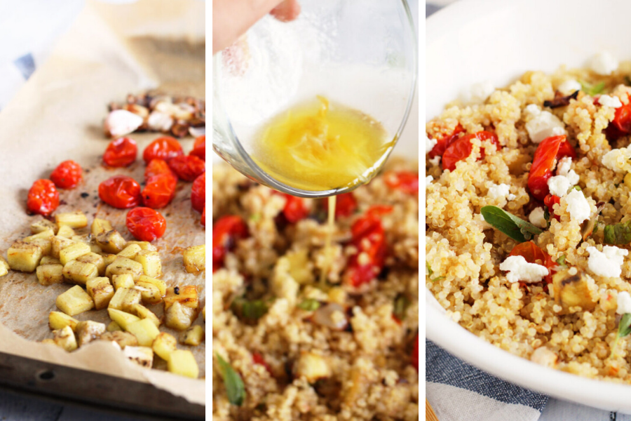 Roasted Eggplant and Tomato Quinoa Salad