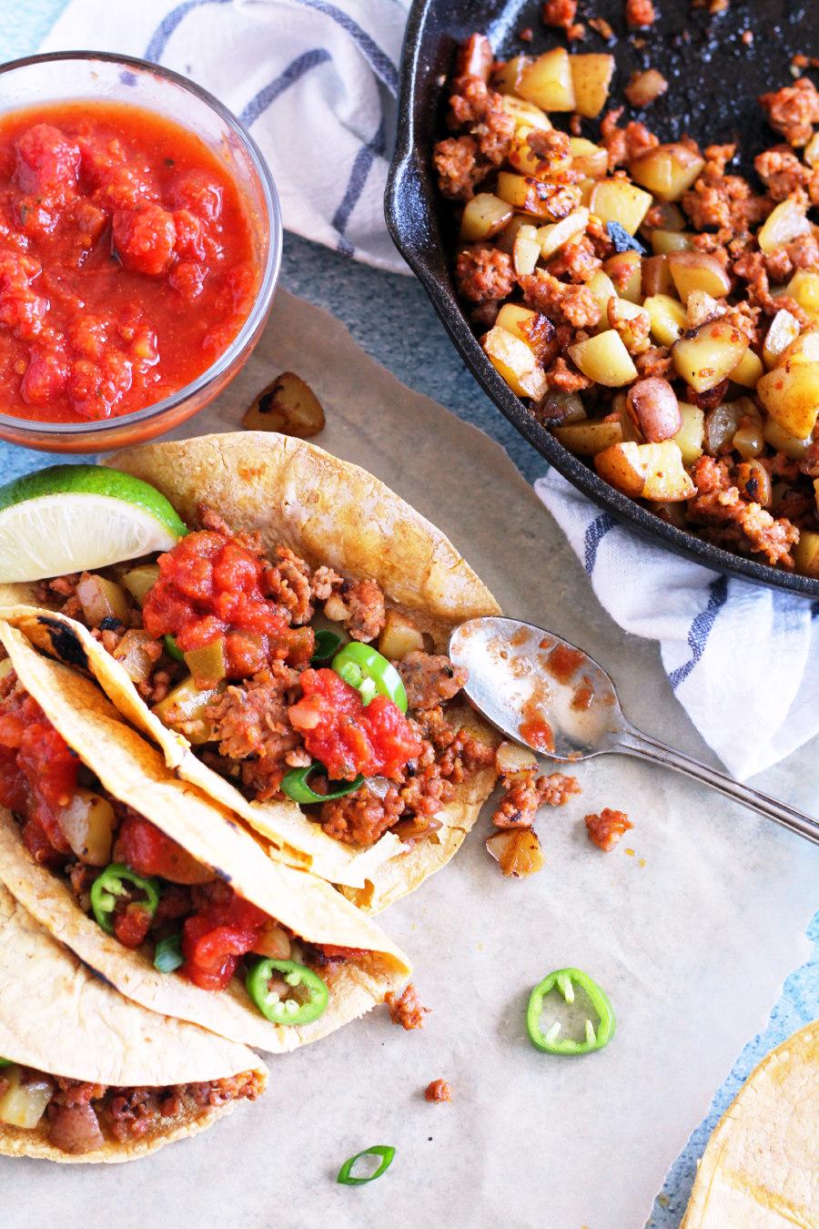 chorizo and potato tacos