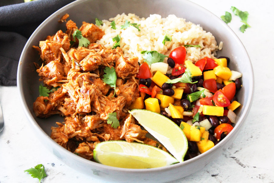 Jackfruit Rice Bowl with Black Bean Mango Salsa