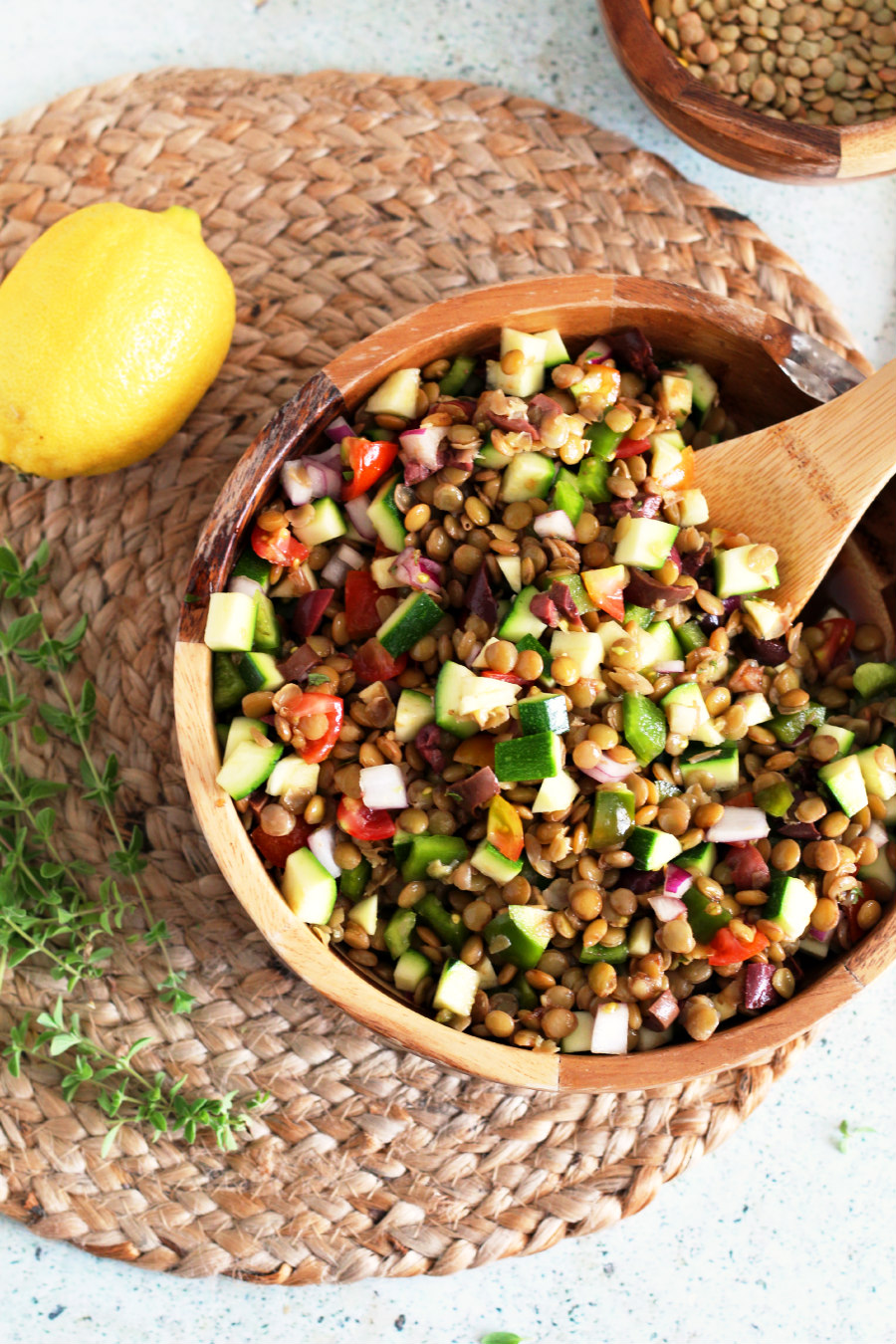 vegan mediterranean lentil salad