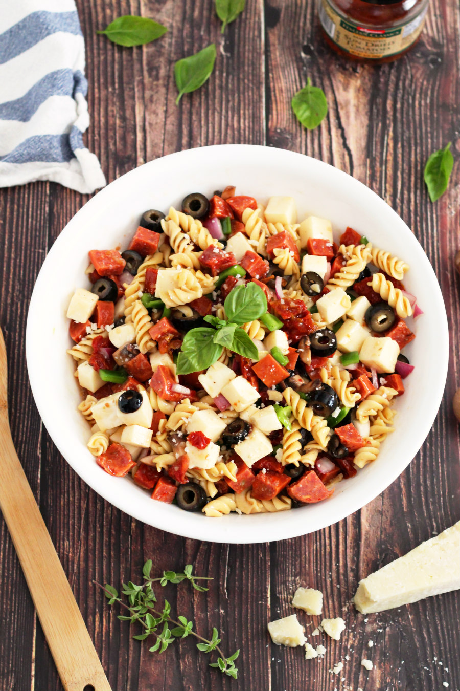 loaded pizza pasta salad