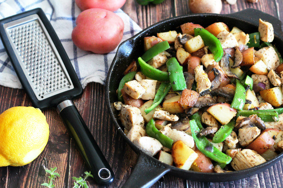 One Pan Chicken, Potato, Pepper, and Mushroom Skillet