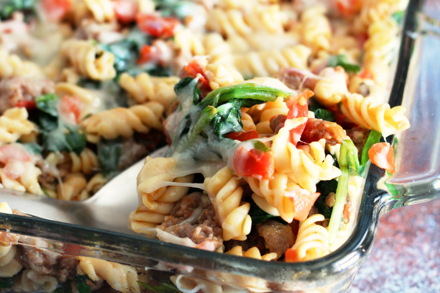 Sausage, Spinach, and Tomato Pasta Bake