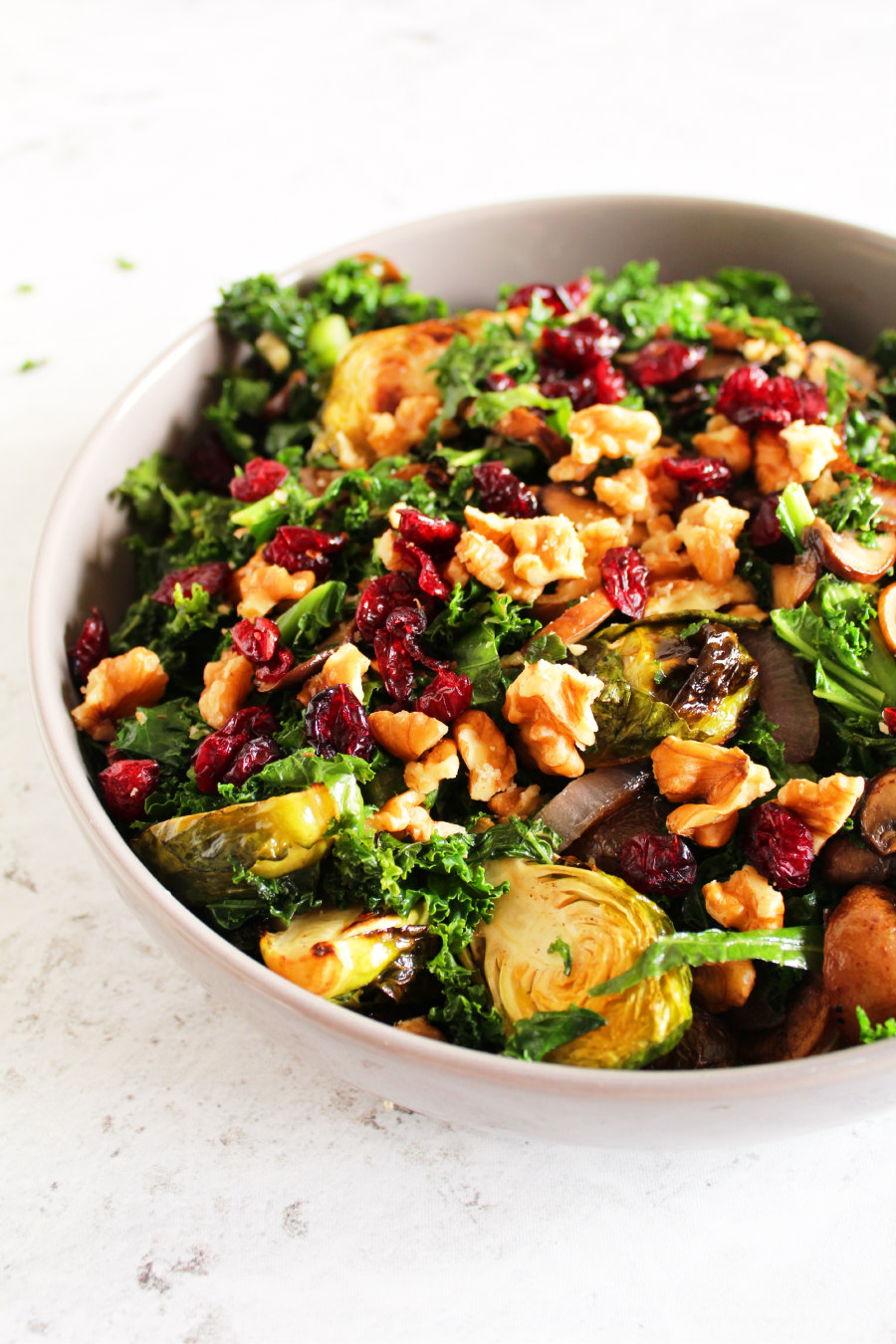 roasted brussels sprouts and kale salad