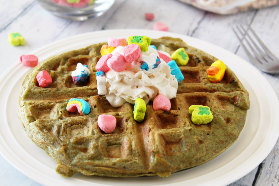 Lucky Charms St. Patrick's Day Waffles