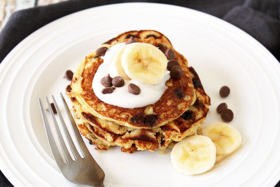 Almond Flour Carob Chip Pancakes
