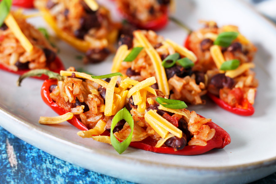 Mexican Rice Stuffed Mini Peppers